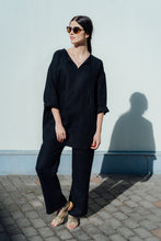 Load image into Gallery viewer, MONA BLACK LINEN TUNIC