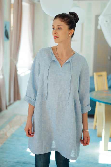 MONA LIGHT BLUE LINEN TUNIC