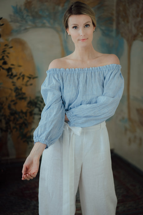 NINA LIGHT BLUE LINEN SHIRT