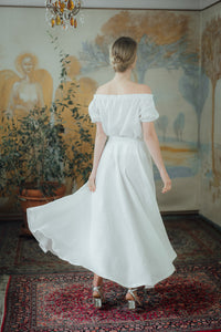 SOPHIA WHITE LINEN SKIRT (Pre-Order, Ships October 14)
