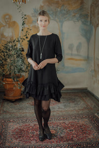 ROSE BLACK LINEN MINI DRESS
