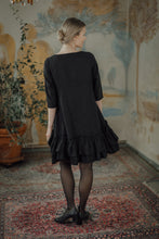 Load image into Gallery viewer, ROSE BLACK LINEN MINI DRESS