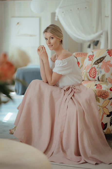 SOPHIA BLUSH LINEN SKIRT (Pre-Order, Ships October 22)