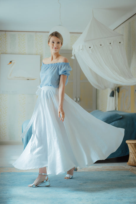 SOPHIA WHITE LINEN SKIRT (Pre-Order, Ships October 22)