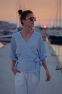 THERESA LIGHT BLUE LINEN WRAP SHIRT