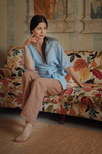 Load image into Gallery viewer, THERESA LIGHT BLUE LINEN WRAP SHIRT