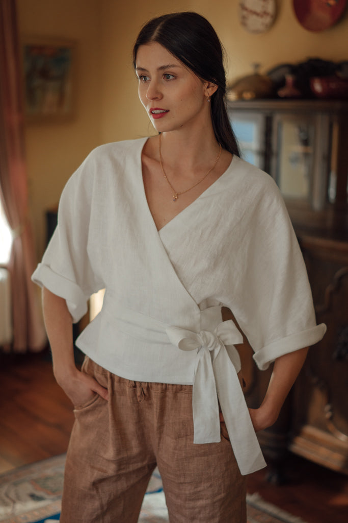 THERESA WHITE LINEN WRAP SHIRT