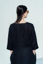 Load image into Gallery viewer, VIIVI BLACK LINEN TUNIC