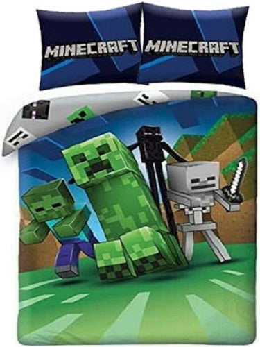 MINECRAFT UK DOUBLE DOONA COVER SET (FITS MOST AU QUEEN)