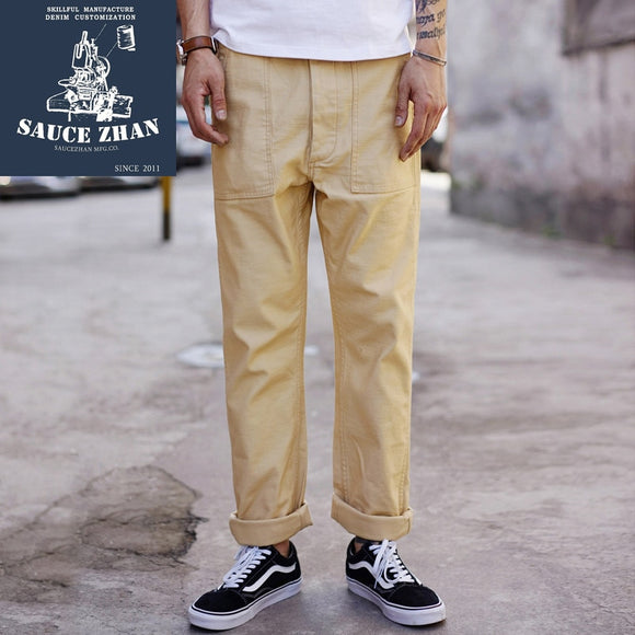 Thickened Military Pants Engraved Casual Pants Mens khaki pants