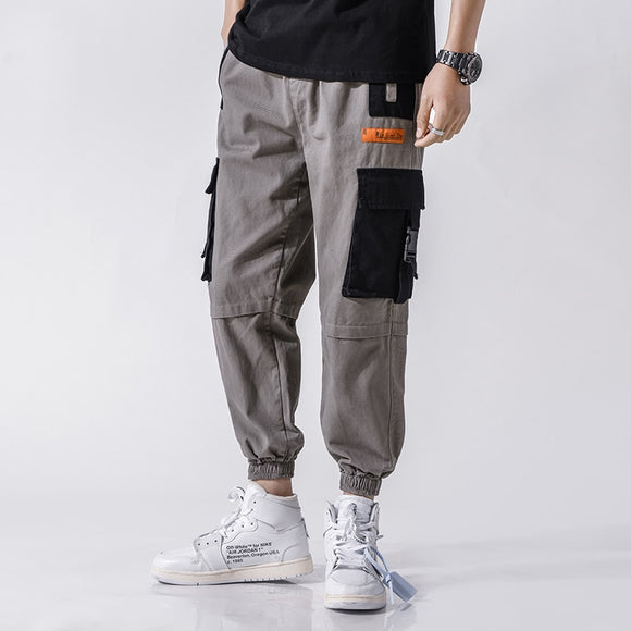 Pockets Cargo Harem Pants Mens Casual Joggers Baggy Tactical Trousers