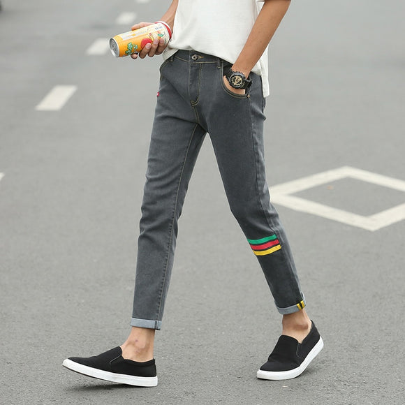 Contrast Printed Skinny Jeans Men's Slim Large Size Ankle Length Pencil Pants