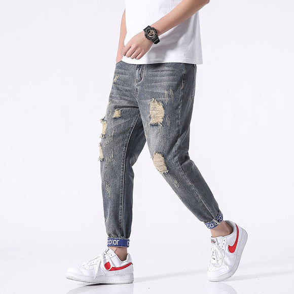 Men's Fashion Cotton Stretch Ripped Ankle-Length Jeans Men's Youth Slim