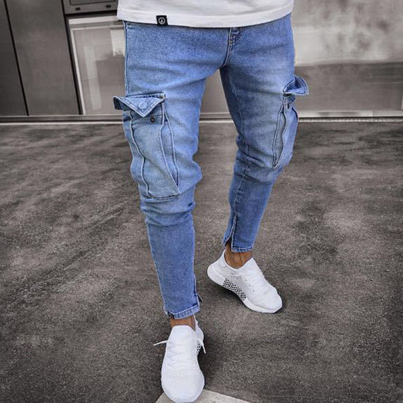 Patch Hole Ripped Skinny Pockets Jeans Men Clothes Slim Fit Hole Jeans