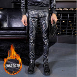 Faux Leather Pants Men Skinny Thick Motorcycle PU Pants Mens Military