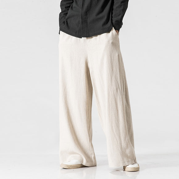 New Cotton Linen Extra Wide Leg Pants Men Chinese Style Male Fashion