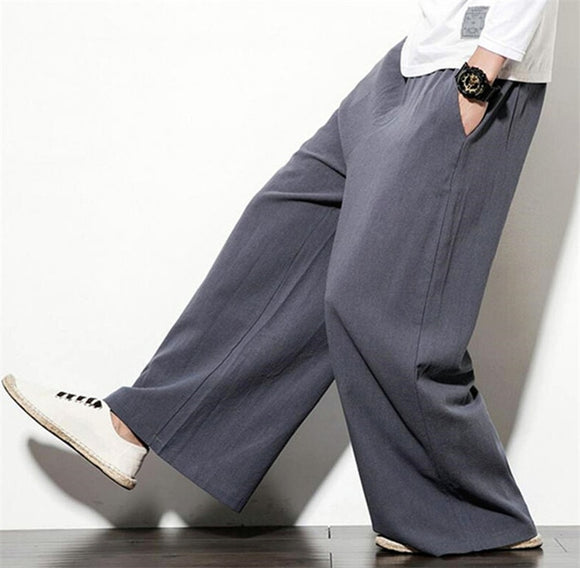 Men's Summer Cotton linenTrousers Male Loose casual Wild leg Pants