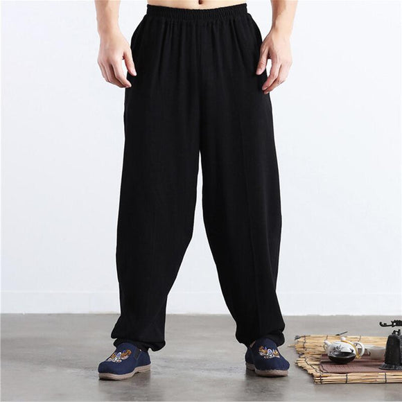 Brand New Autumn Linen Casual Pants Men Solid wide leg pants