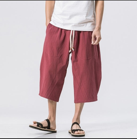 Men's Linen  trouser Fashion Men's Elastic Waist Wide Leg Cotton Harem Baggy