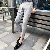 Business Casual Office Trousers Ment Ankle Length Homme Slim Fit Men