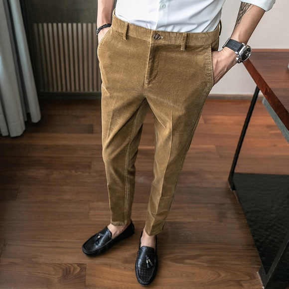 Men Classic Corduroy Formal Suit Pants Male Slim Fit Business