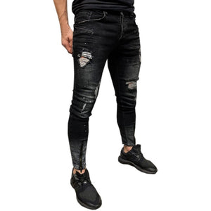 Mens Skinny Stretch Trousers Man Stretch Denim Slim Zipper Jeans Pants