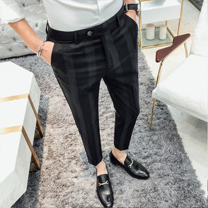 Brand New Pants Men Fashion Gentlemen Striped Casual Social Dress Suit Pant