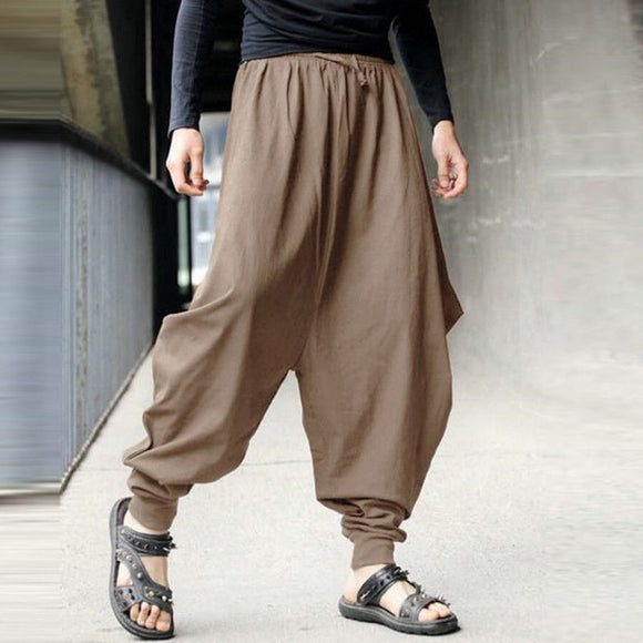 Spring Hip Hop Cotton Linen Baggy Harem Pants Men Fitness Casual