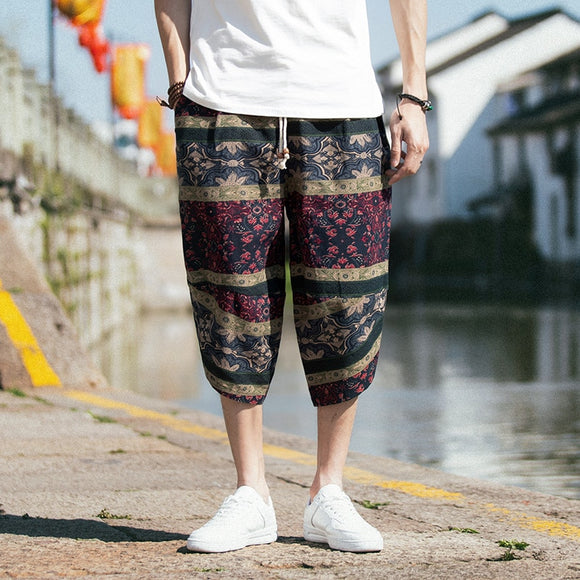 2019 Summer Calf-Length Loose Casual Pants Men Japanese Streetwear