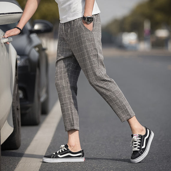 019 Ankle-Length Linen Plaid Pants Men Trousers Hip Hop Jogger Pants