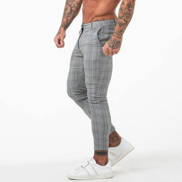 Slim Fit Men Skinny Chino Pants Grey Ankle Length Super Stretch