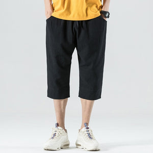 Summer Lightweight Men's Loose Short Harem Pants Calf-length Casual Trousers