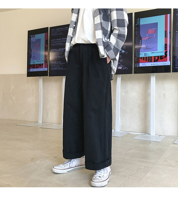 2019 Mens Streetwear Wide Leg Harem Pants Male Korea Style