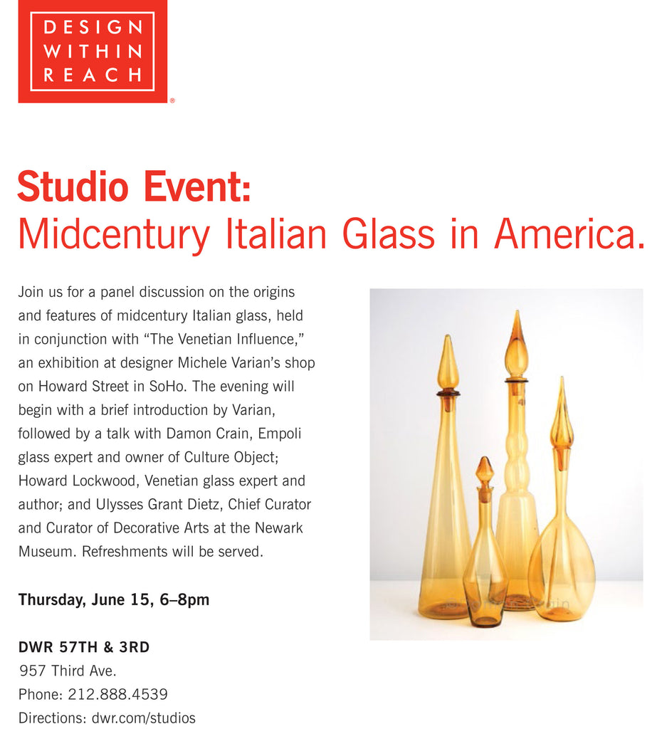 Michele Varian to Host Panel Discussion at DWR about Midcentury Italian Glass