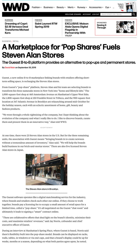 FEATURED : A Marketplace for 'Pop Shares' Fuels Steven Alan Stores