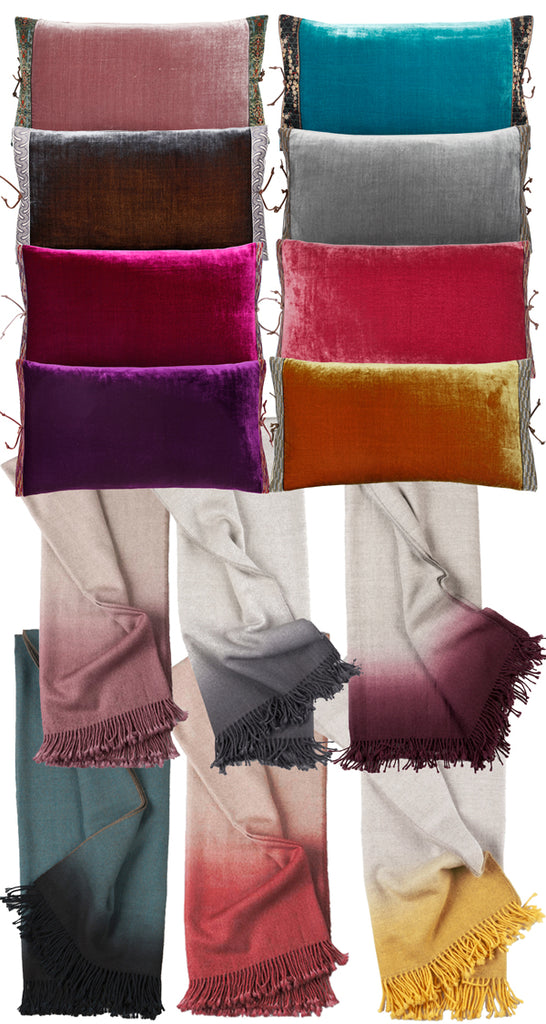 Cozy Up in Silk Velvet Pillows and Alpaca Ombre Blankets