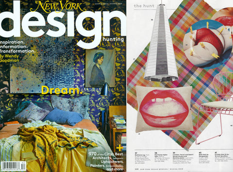 New York Mag Design Hunting Issue Lips Pillow