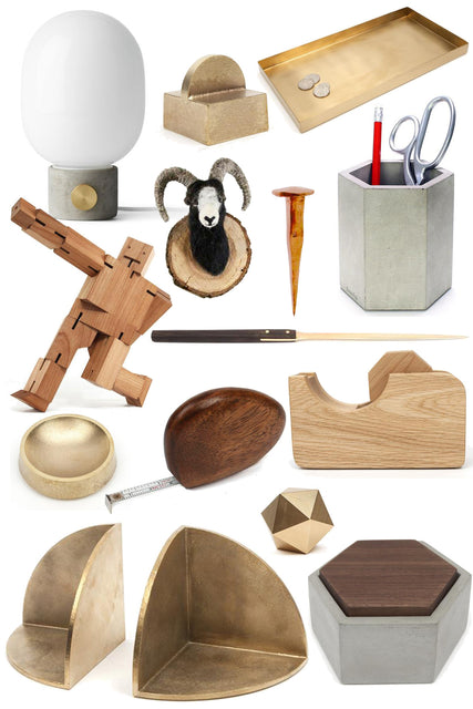 desk accessories in brass, walnut and concrete
