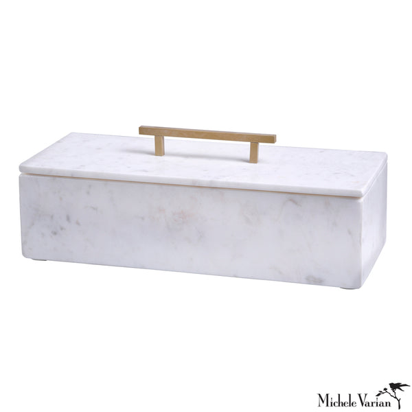 Lidded White Marble Box with Metal Handle