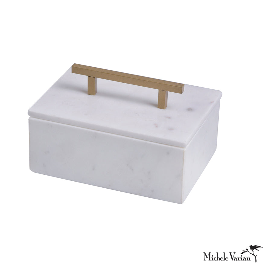 Small Marble Box and Lid with Metal Handle