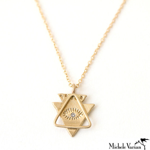 Gold Spirit Eye and Triangle Necklace