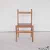 Simple Leather and Oak Desk or Dining Chair in Nude
