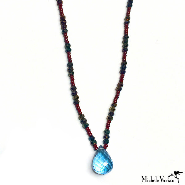 Seed Bead and Sprinel Necklace with Mystic Topaz Drop