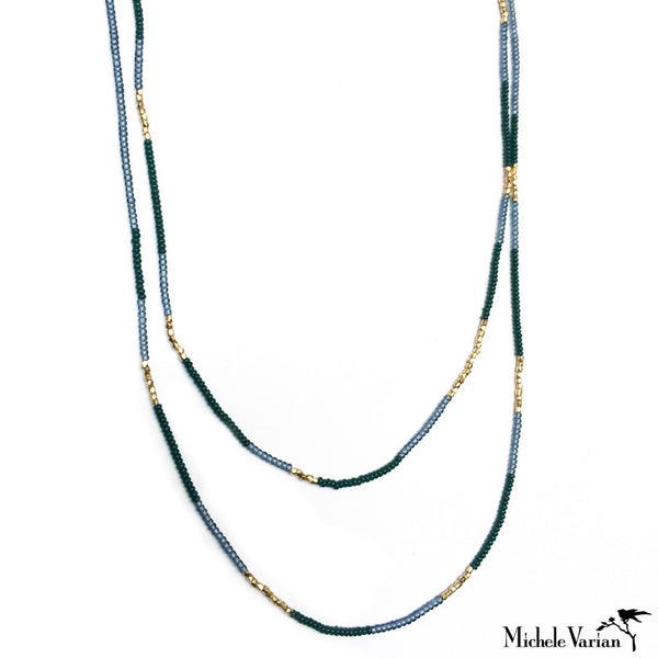 Grey and Green Seed and Gold Vermeil Bead Necklace