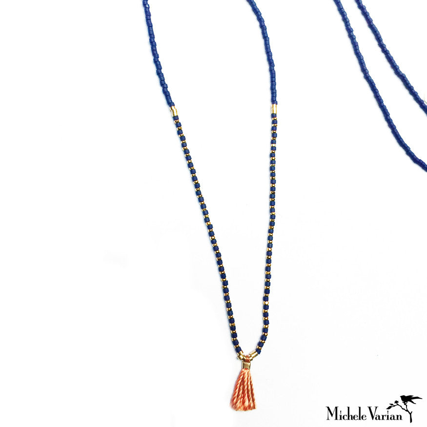 Tiny Blue Tassel Necklace