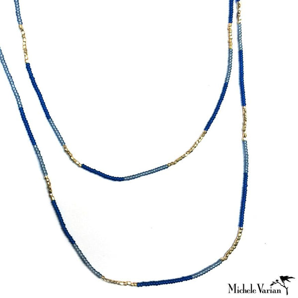 Mignight Seed and Gold Vermeil Bead Necklace