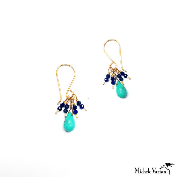 Lapis and Turquoise Cluster Drop Earrings