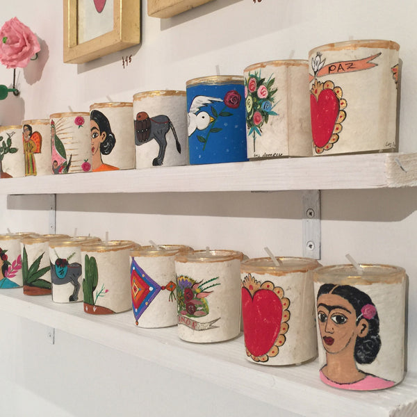Hand Painted Folk Art Candle