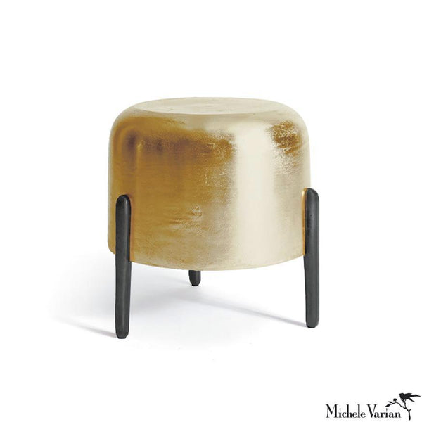 Brass and Blackened Metal Tripod Drum Stool or Side Table