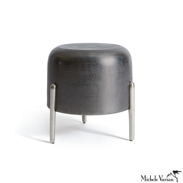 Blackened Nickel Tripod Drum Stool or Side Table